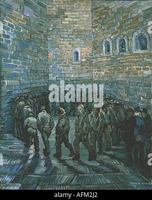 """""""Belle Arti, Gogh, Vincent van, (1853 - 1890), pittura, 'il cortile della prigione"""", 1890, olio su tela, Museo Puskin di Mosca, h"""