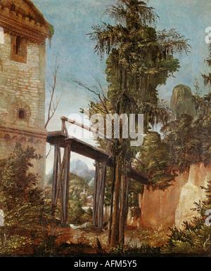 """""""Belle Arti, Altdorfer, Albrecht, (1480 - 1538), pittura, 'paesaggio con passerella', 1518 - 1520, olio su pergamena e il pannello"""