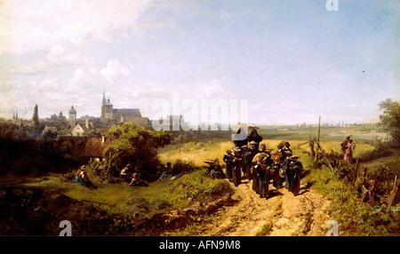 """""""Belle Arti - Spitzweg, Carl (1808 - 1885), il dipinto 'Institutsspaziergang' (a piedi con l'Istituto), circa 1872, olio su SO"""