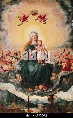 """""""Belle Arti, Altdorfer, Albrecht, (1480 - 1538), pittura, 'Saint Maria col Bambino in gloria', circa 1525, tiglio, 65,7 cm"""