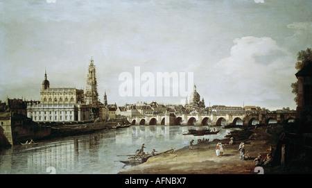 """""""Belle Arti, Bellotto, Bernardo, chiamato il Canaletto, (1721 - 1780), pittura, 'Dresden visto dalla riva destra Foto Stock"""