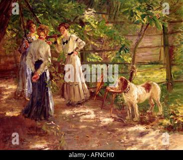 """""""Belle Arti - Uhde, Fritz von (22.5.1848 - 25.2.1911), pittura, 'Die Töchter im Garten"""" (Vista dell'artista nel giardino con la sua"""