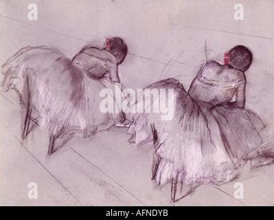 """""""Belle Arti, Degas, Edgar, (1834 - 1917), pittura, """"due ballerini di appoggio', pastello su carta, Art House, Zurigo, storico histor"""