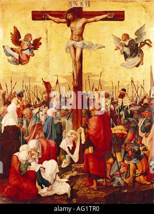 """""""Belle Arti, Altdorfer, Albrecht, (1480 - 1538), pittura, ' Cristo sulla croce', circa 1520, legno, 75 cm x 57,5 cm, museo di"""