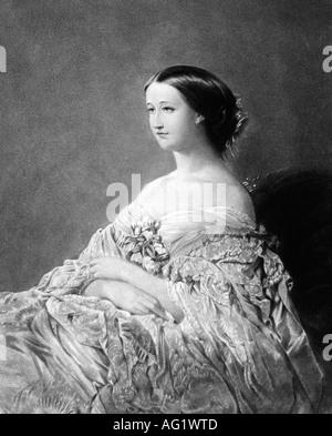 Eugenie, 5.5.1826 - 11.7.1920, Empress Consort di Francia 30.1.1853 - 4.9.1870, seduto, Heliograph di Niepce dopo la pittura da Winterhalter, 19th secolo, ,