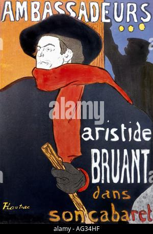 """Belle arti, Toulouse-Lautrec Henri de, (24.11.1864 - 9.9.1909), il poster """"Ambassadeurs - Aristide Bruant Dans Son Cabaret', circa 1895, litografia, collezione privata, , artista del diritto d'autore non deve essere cancellata"""