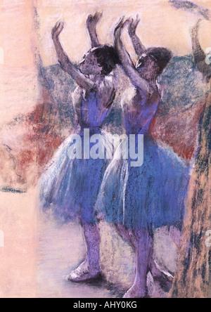 """Belle Arti, Degas, Edgar, (1834 - 1917), pittura, 'Deux Danseuses', (""Due danzatori""), circa 1900, carta, 79 cm x 51 cm, von Foto Stock"