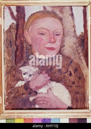 """Belle Arti, Modersohn-Becker, Paula (1876 - 1907), pittura, 'Mädchen mit Lamm', Osthaus Museum, Hagen, ragazza Foto Stock"