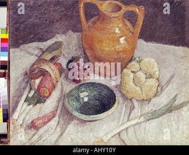 """""""Belle Arti, Modersohn-Becker, Paula (1876 - 1907), pittura, 'Stil vita con brocca"""", Bassa Sassonia Galleria di Foto Stock"""
