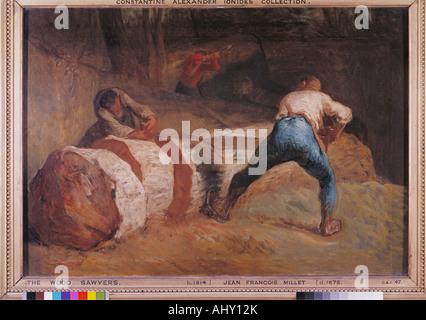 """""""Belle Arti, miglio, Jean-Francois (1814 - 1875), pittura, 'Il legno segatori"""", 1848, olio su tela, Victoria and Albert Museum Foto Stock"""