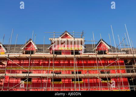 Nuovo ambiente edifici residenziali che mostra la cavità di rosa il materiale isolante utilizzato per la costruzione. Foto Stock
