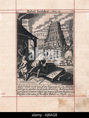 Costruzione della torre di Babele, 1716. Artista: sconosciuto Foto Stock