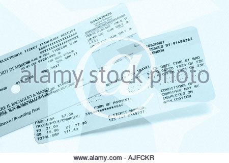 Biglietti di aereo e al simbolo Foto Stock