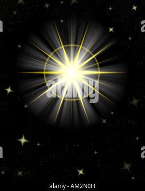 Grande grande stella flare o splendente stella di Natale Foto Stock