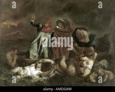 """Belle Arti, Delacroix, Eugene (1798 - 1863), pittura, 'la barca di Dante"", 1822, olio su tela, Louvre, Parigi, Foto Stock"