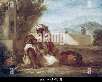Belle arti, Delacroix, Eugene (1798 - 1863), pittura, fornitore di arancione in Marocco, circa 1835, olio su tela, Foto Stock