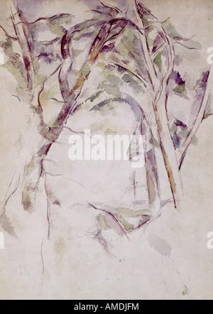 Belle arti, Cezanne, Paolo (1839 - 1906), pittura, studio di alberi, circa 1890, acquarello e matita, il Kunsthaus Zürich, francese,