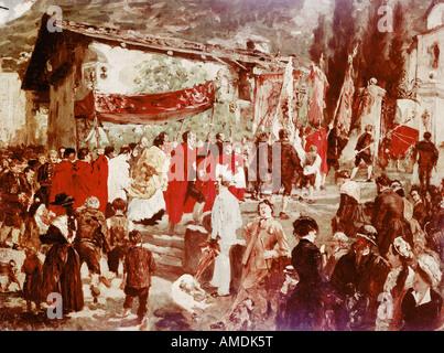 Belle arti, Degas Edgar (1834 - 1917), pittura, processione in Tirolo, olio su tela, Strassburg Museum, copie dopo Adolph von M Foto Stock