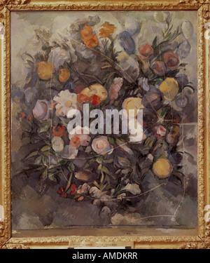 """""""Belle Arti, Cezanne, Paolo (1839 - 1906), pittura, 'fiori' circa 1900, olio su tela, Museo Puskin di Mosca, stillife, Fren"""