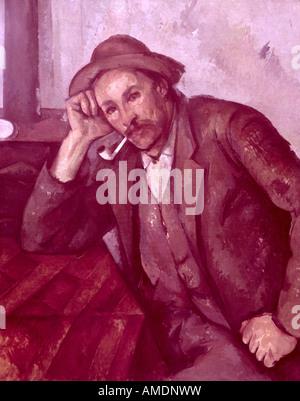 """Belle arti, Cézanne, Paul (1839 - 1906), pittura, 'il fumatore"""", 1890, olio su tela, 92,5 cm x 73,5 cm, comunale Foto Stock"""