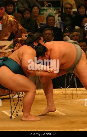 Lottatori di Sumo alle prese in un tradizionale tipica pongono a molla Sumo basho nel torneo di Kansai di Osaka Foto Stock