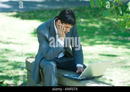 Imprenditore seduto sul muro basso nel parco, utilizzando laptop Foto Stock
