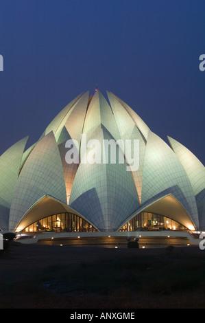 INDIA, Delhi, Sud Est Delhi: tempio Bahai (b.1986) sera Foto Stock