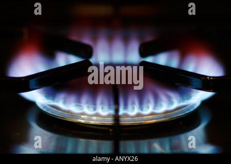 Fiamma a gas sul piano di cottura della cucina England Regno Unito Foto Stock