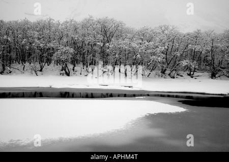 Fiume Rauma dopo la nevicata nel Romsdalen valley, Rauma kommune, Møre og Romsdal, Norvegia. Foto Stock