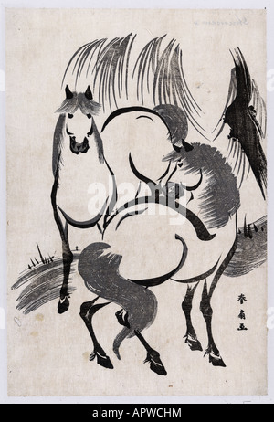 Due cavalli sotto un salice mancanza e Bianco Marmo semplice decorazione decorano la bellezza degli animali selvatici Foto Stock