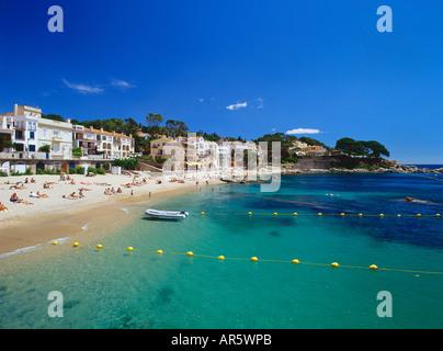 Spiaggia, Calella de Palafrugella, Costa Brava, provincia Girona, in Catalogna, Spagna Foto Stock
