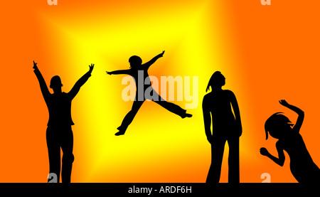 Sagome danzanti su un arancione con sfondo giallo Foto Stock