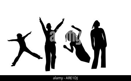 Ballo silhouette nera isolato su bianco Foto Stock