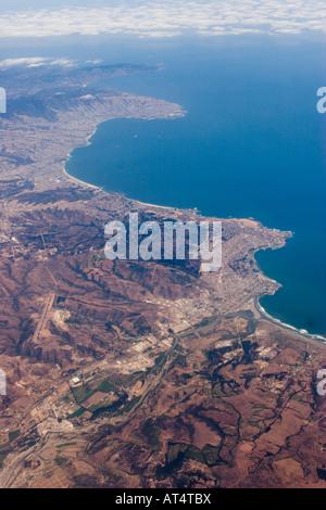 Vista aerea di Valparaiso e Viña del Mar, Quinta Región, Cile