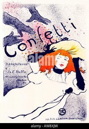 Coriandoli 1894 Art Nouveau poster da Toulouse Lautrec per la carta inglese maker maker J E Bella Foto Stock