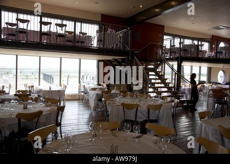 """Il """"cantiere"""" sistemazione ristorante affacciato sul mare di fronte al estuario del Tamigi, Lee Leigh on Sea, Essex, Foto Stock"""