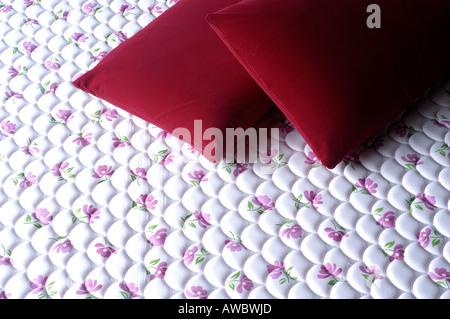 Filati di cocco materassi e cuscini sul display in fabbrica nel distretto di Alappuzha Foto Stock