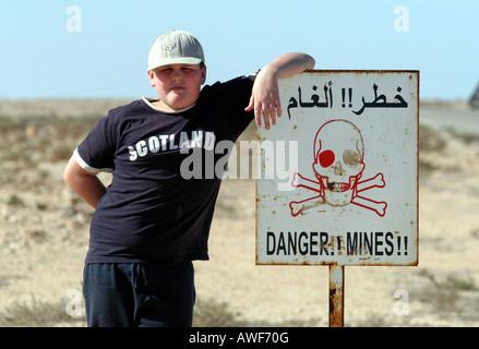 Pericolo minato sign in Mauritania Foto Stock