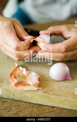 Peeling mani una cipolla Foto Stock