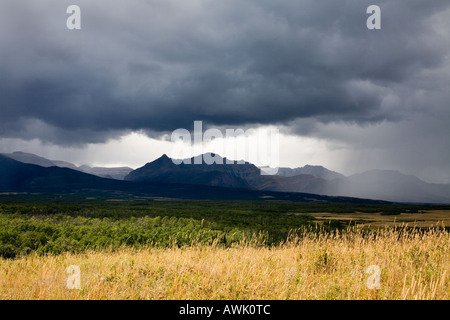 Tempesta di pioggia su Spread Eagle mountain nelle Montagne Rocciose Canadesi Alberta