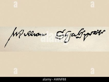 Firma di William Shakespeare. William Shakespeare, 1564 - 1616. Poeta inglese, drammaturgo e attore Foto Stock