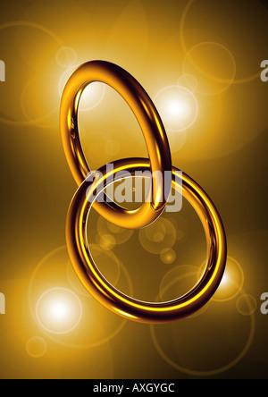 2 anelli simbolo per matrimonio fusion 2 Ringe ineinander simbolo verschränkt für Fusion Heirat Foto Stock