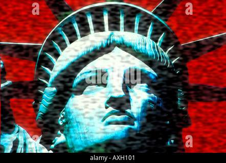 Resa astratta della Statua della Libertà USA concetto Foto Stock