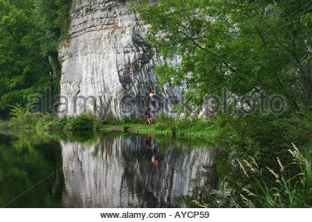 Arrampicata a picco Districk, Derbyshire, Inghilterra Foto Stock