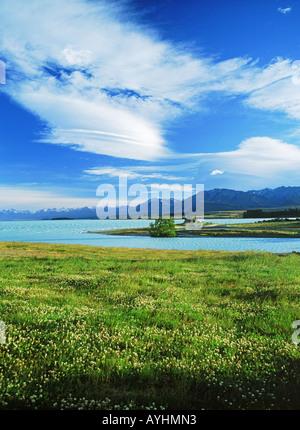 La Chiesa del Buon Pastore sul Lago Tekapo sull'Isola del Sud della Nuova Zelanda Foto Stock