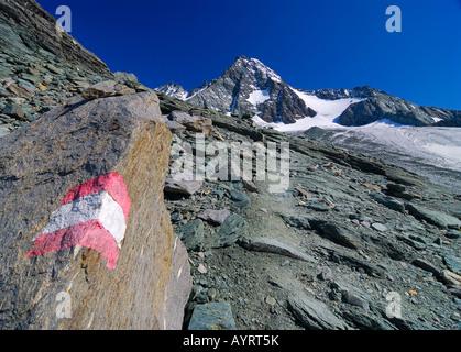 Sentiero escursionistico e il picco di Mt. Grossglockner, Parco Nazionale degli Hohe Tauern, Tirolo, Austria