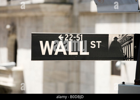 Wall Street segno di fronte al New York Stock Exchange (NYSE), Wall Street, il Quartiere Finanziario, NYC, New York City Foto Stock