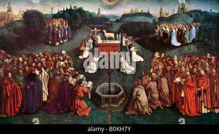 """""""L'adorazione dell'Agnello Mistico', la Pala di Gand, 1432, (c1900-1920).Artista: Jan van Eyck Foto Stock"""