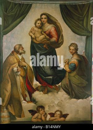 Belle arti, Raffael, (Raffaello santi), 1483 - 1520, pittura, 'Sistine Madonna', (con i Santi Sisto e Barbara), Foto Stock