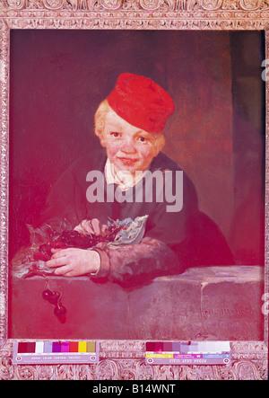 "Belle arti, Manet, Edouard, (1832 -1883), pittura, 'ragazzo con ciliegie"", 1858, olio su tela, 65 cm x 65 cm, Gulbenkian Foto Stock"